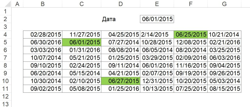 Условное форматирование дат одного года и месяца