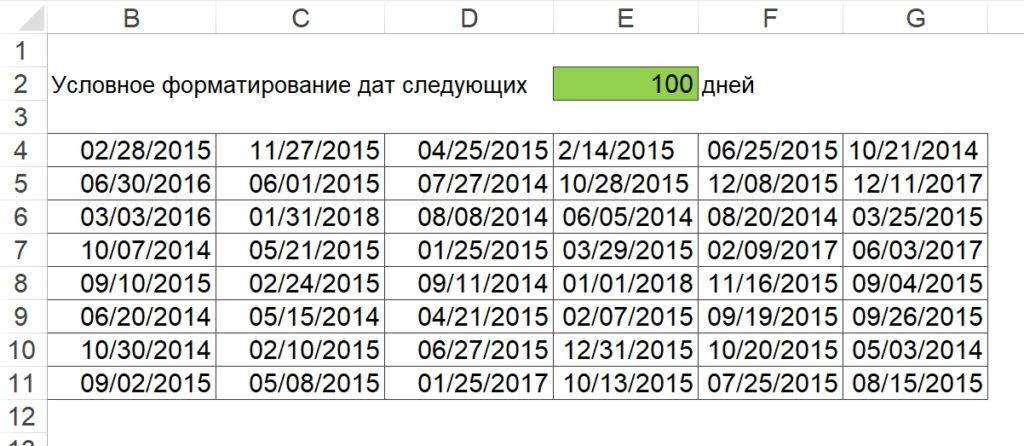 Условное форматирование дат следующих N дней