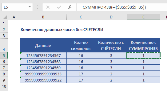 Количество длинных чисел
