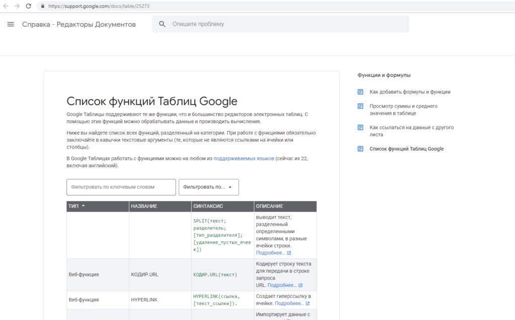 Список функций Google Sheets
