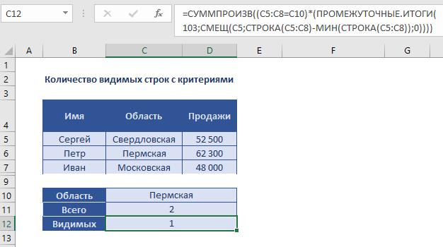 Количество видимых строк с критерием