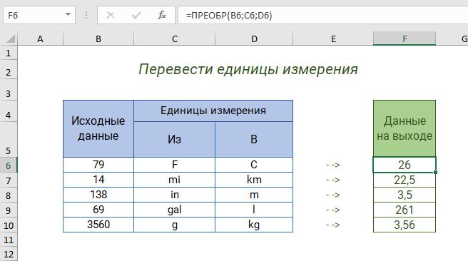 Функция ПРЕОБР