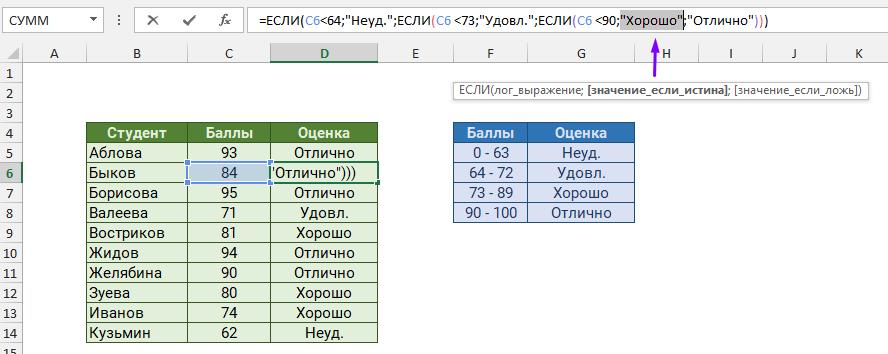 Выберите аргументы формулы с помощью подсказки на экране