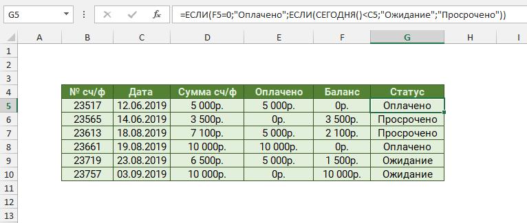 Расчет статуса счета-фактуры с помощью вложенного ЕСЛИ