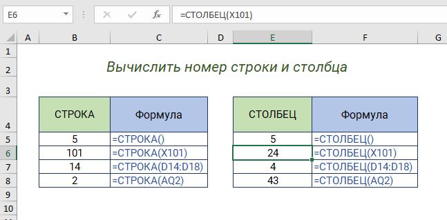 Функции СТРОКА и СТОЛБЕЦ