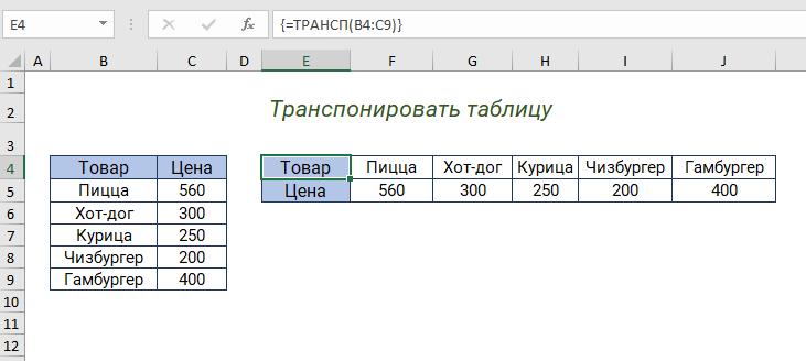 Функция ТРАНСП