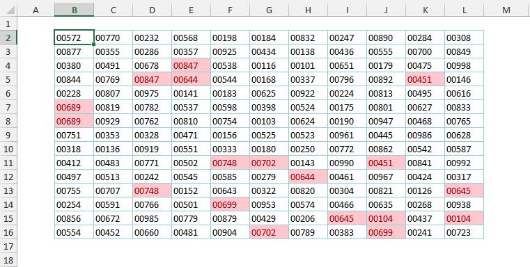165 кодов товаров с четко выделенными дубликатами