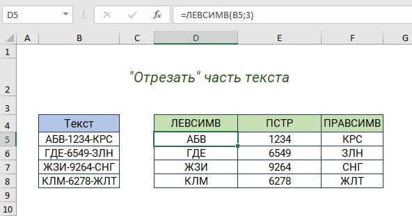Функции ЛЕВСИМВ, ПРАВСИМВ и ПСТР