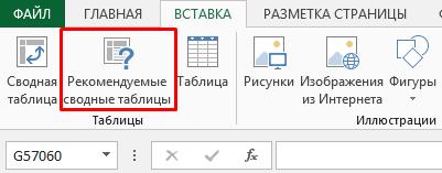Использование рекомендуемой сводной таблицы