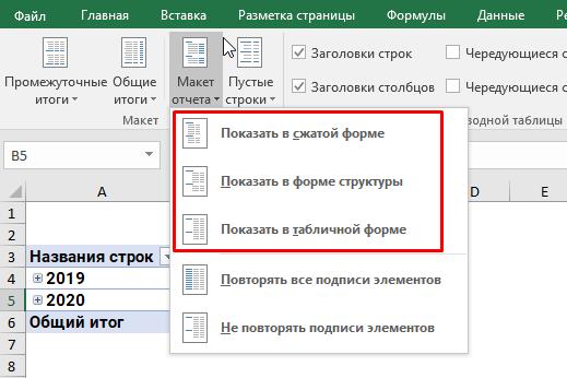 Изменение макета сводной таблицы.