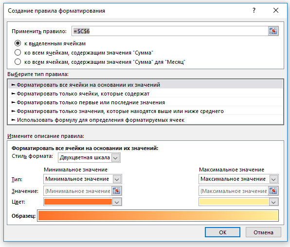 Всплывающее окно для применения условного форматирования в сводной таблице