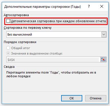 Автоматическая сортировка при каждом обновлении отчета
